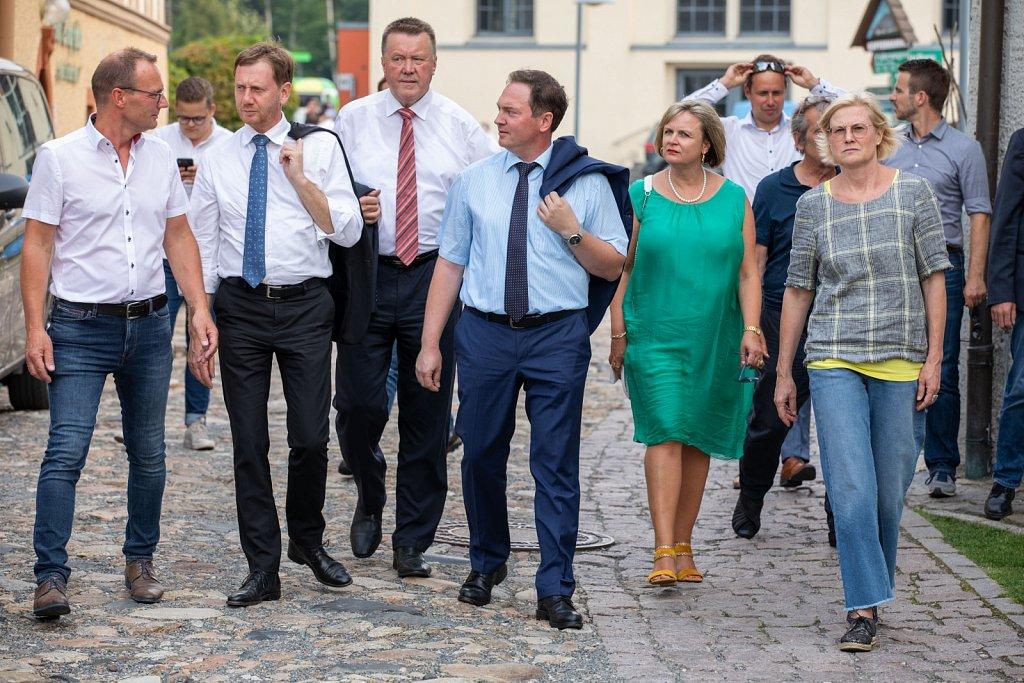 Sachsens Ministerpräsident Michael Kretschmer in Olbernhau